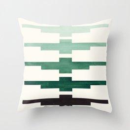 Mid Century Minimalist Ancient Aztec Inca Geometric Pattern Watercolor Deep Green Colorful Gouache Throw Pillow