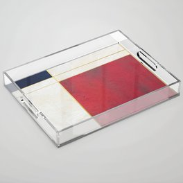 Blue, Red And White With Golden Lines Abstract Painting Acrylic Tray