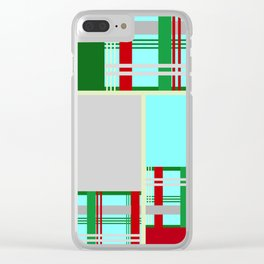 Christmas Gingham Abstract Square Pattern Clear iPhone Case