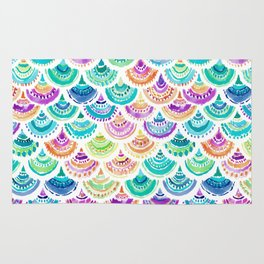 RAINBOW MERMACITA Colorful Mermaid Scales Rug
