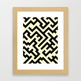 Black and Cream Yellow Diagonal Labyrinth Framed Art Print