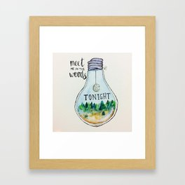 "Lord Huron lyrics ""Meet me in the woods tonight."" Framed Art Print"