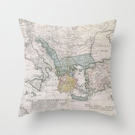Vintage Map of Greece (1741) Throw Pillow