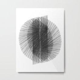 Mid Century Modern Geometric Abstract Black & White Radiating Lines Metal Print
