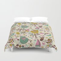 baking Duvet Covers featuring Cupcakes  by Anna Deegan