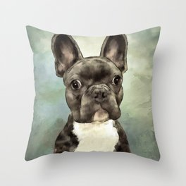 Frenchie Wants To Know Throw Pillow