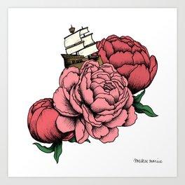 Sailing a Sea of Peonies - Pink Art Print