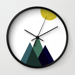 Mountains and Sun Modern Art Print in Teal, Chartreuse and Navy Wall Clock