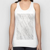 white marble Tank Tops featuring White Marble by LS Works