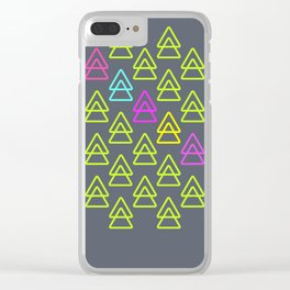 neon triangles Clear iPhone Case
