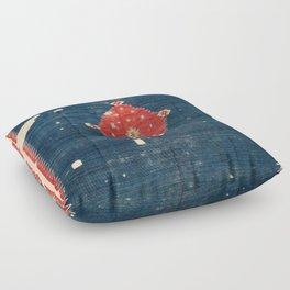 Balikesir  Antique Turkish Kilim Rug Print Floor Pillow