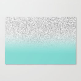 e134f4d5145d Modern Girly Faux Silver Glitter Ombre Teal Ocean Color Block Canvas Print