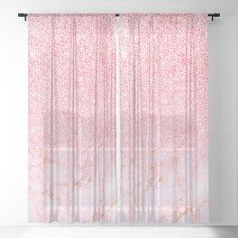 Modern Faux Rose Glitter Rose Gold Marble Trendy Girly Elegant Luxury Sheer Curtain
