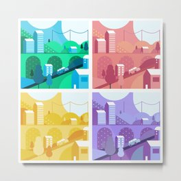 Coloured Village Town Kids Print Metal Print
