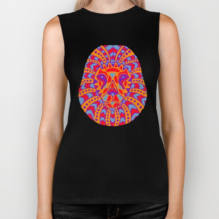 Abstract Lion Design #8 Biker Tank