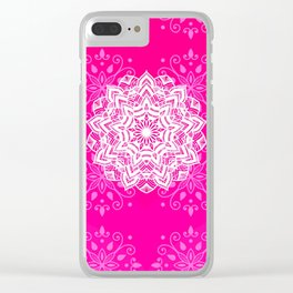 White mandala on bright pink design Clear iPhone Case