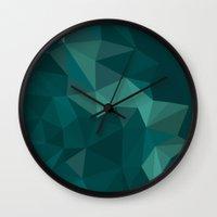 polygon Wall Clocks featuring Green Polygon by artsimo