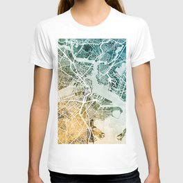 Boston Massachusetts Street Map T-shirt