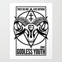 atheist Art Prints featuring Godless Youth by headsofbirds