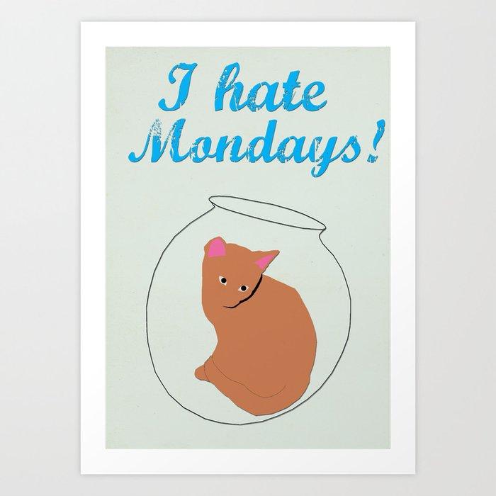 anchorman 2 i hate mondays minimalist design cat art