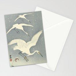 Descending egrets in snow, Ohara Koson Stationery Cards