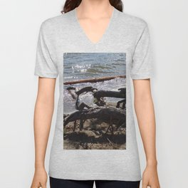 Roots of Huge Old Pine Tree Reaching Into The Lake Unisex V-Neck