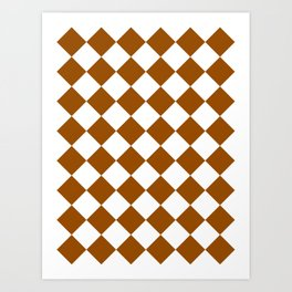 Large Diamonds - White and Brown Art Print