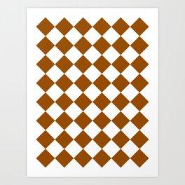Large Diamonds - White and Brown Art Print