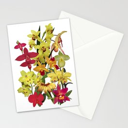 Orchids - Hot Colors! On white Stationery Cards