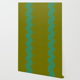 groovy minimalist pattern aqua waves on olive Wallpaper