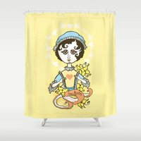 jane austen Shower Curtains featuring Jane Austen Holy Writer by roberto lanznaster