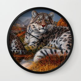 Leopard Mother And Cub In Pasture Ultra HD Wall Clock