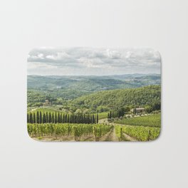 Vineyards landscapes in the morning in Chianti Bath Mat