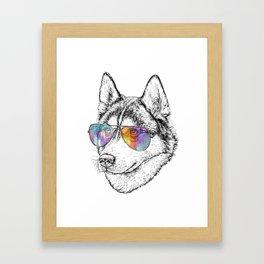 Husky Dog Graphic Art Print. Husky in glasses Framed Art Print