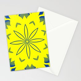 Maize & Blue floral Mandala Stationery Cards