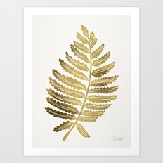 Golden Fern Leaf Art Print
