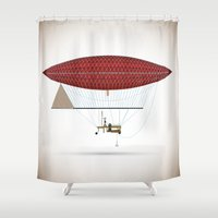 hot air balloon Shower Curtains featuring vintage hot air balloon by the lazy pigeon
