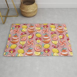 Pop art citrus addiction // blush pink background red lips yellow and orange lemons and citrus fruits Rug
