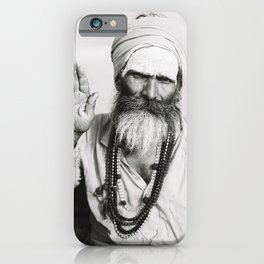 Black and White Portrait of Holy Man in Varanasi, India II | Travel Photography | iPhone Case