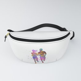 Couple practices fitness in watercolor 11 Fanny Pack