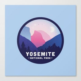 Yosemite National Park Badge in Blue Canvas Print