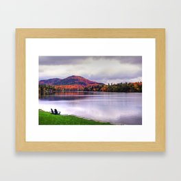 Mirror Lake in Lake Placid NY Autumn Foliage Framed Art Print