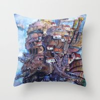 calcifer Throw Pillows featuring Howl's Moving Castle Painting by Little Miss Marikit