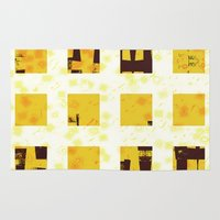 yellow pattern Area & Throw Rugs featuring Yellow by SensualPatterns
