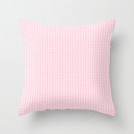 Mini Light Soft Pastel Pink Gingham Check Plaid Throw Pillow
