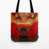 majora Tote Bags featuring attack on majora! by fangterry