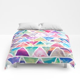 Pink Clouds Teal Sky Abstract Triangles Pattern Comforters