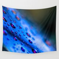 sunglasses Wall Tapestries featuring Rain Drops on Blue Sunglasses by Gabriel Harding