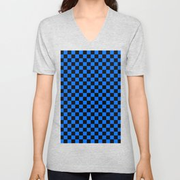 Black and Brandeis Blue Checkerboard Unisex V-Neck