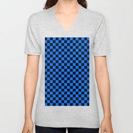 Black and Brandeis Blue Checkerboard Unisex V-Neck